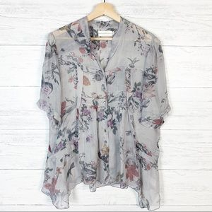 4 Love And Liberty • Grey Floral Silk Blouse XL